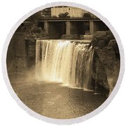 Round Beach Towel featuring the photograph Rochester, New York - High Falls Sepia by Frank Romeo