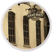 Round Beach Towel featuring the photograph Rochester, New York - Jimmy Mac's Bar 3 Sepia by Frank Romeo