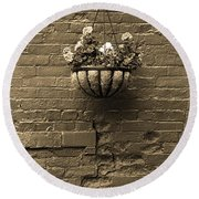 Round Beach Towel featuring the photograph Rochester, New York - Wall And Flowers Sepia by Frank Romeo