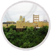 Round Beach Towel featuring the photograph Rochester, Ny - Factory On A Hill by Frank Romeo
