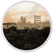 Round Beach Towel featuring the photograph Rochester, Ny - Factory On A Hill Sepia by Frank Romeo