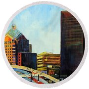 Round Beach Towel featuring the painting Rochester New York Late Winter by Jodie Marie Anne Richardson Traugott          aka jm-ART