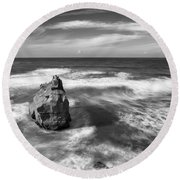 Rock And Its Shadow Round Beach Towel by Joseph S Giacalone