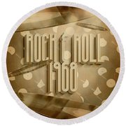 Rock And Roll 1968 Round Beach Towel