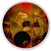 Rock And Roll Drum Solo Round Beach Towel