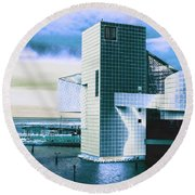 Rock And Roll Hall Of Fame - Electric Blue Round Beach Towel