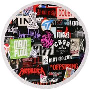 Rock And Roll Stickers Round Beach Towel