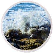 Wave Meets Rock Round Beach Towel