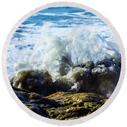 Wave Meets Rock Round Beach Towel