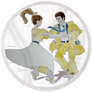 Rock Around The Clock Round Beach Towel