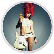 Rock Chick Round Beach Towel