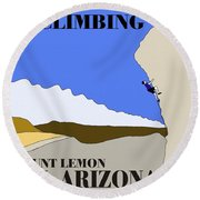 Rock Climbing Poster Round Beach Towel