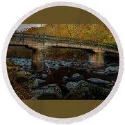 Round Beach Towel featuring the photograph Rock Creek Park Bridge by Ed Clark