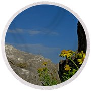 Rock Flowers Round Beach Towel