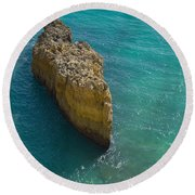 Rock Formation And The Sea In Algarve Round Beach Towel