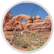 Round Beach Towel featuring the photograph Rock Formation, Arches National Park, Moab Utah by A Gurmankin