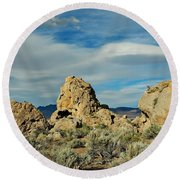 Round Beach Towel featuring the photograph Rock Formations At Pyramid Lake by Benanne Stiens