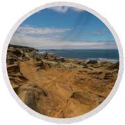 Rock Formations At Shore Acres On The Oregon Coast Round Beach Towel