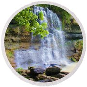 Round Beach Towel featuring the photograph Rock Glen by Rodney Campbell