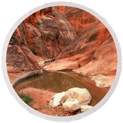 Rock In The Red Canyon Round Beach Towel