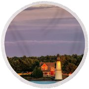 Rock Island Lighthouse Round Beach Towel