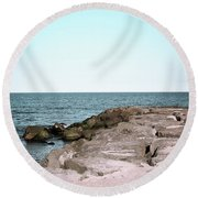 Round Beach Towel featuring the photograph Rock Jetty by Colleen Kammerer
