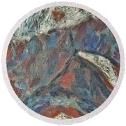 Rock Landscape Abstract  Fall Waves And Forests Swirling In The Background In Red Blue Orang Round Beach Towel