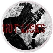 Rock N Roll Guitar Round Beach Towel