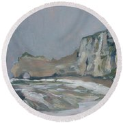 Rock Of Amont Etretat After The Rain Round Beach Towel