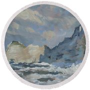 Rock Of Amont Etretat Round Beach Towel