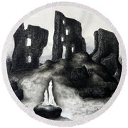 Rock Of The Candle Round Beach Towel
