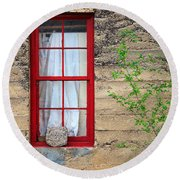 Round Beach Towel featuring the photograph Rock On A Red Window by James Eddy