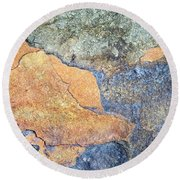 Round Beach Towel featuring the photograph Rock Pattern by Christina Rollo