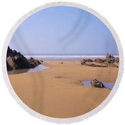 Rock Pools Round Beach Towel by Richard Brookes