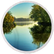 Rock River Autumn Morning Round Beach Towel