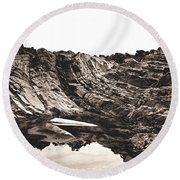 Rock - Sepia Detail Round Beach Towel