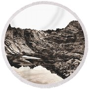 Rock - Sepia Round Beach Towel