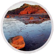 Rock Shelf At Long Reef 1 Round Beach Towel
