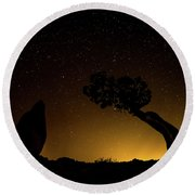 Round Beach Towel featuring the photograph Rock, Tree, Friends by T Brian Jones