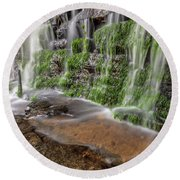 Rock Wall Waterfall Round Beach Towel