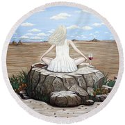 Rock With A View Round Beach Towel