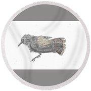 Round Beach Towel featuring the drawing Rock Wren by Dawn Senior-Trask
