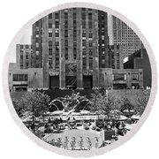 Rockefeller Center Plaza Round Beach Towel