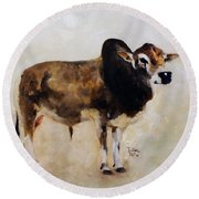 Rocket The Master Champion Herd Sire Miniature Zebu Round Beach Towel by Barbie Batson