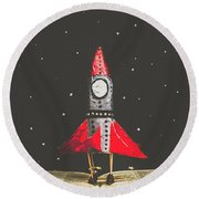 Rockets And Cartoon Puzzle Star Dust Round Beach Towel