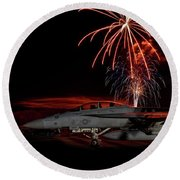 Rocket's Red Glare Round Beach Towel