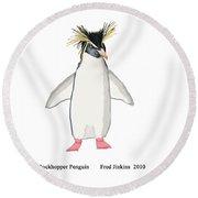 Rockhopper Penguin Round Beach Towel by Fred Jinkins