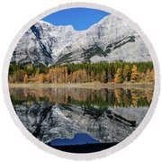 Rockies From Wedge Pond Under Late Fall Colours, Spray Valley Pr Round Beach Towel