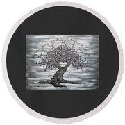 Round Beach Towel featuring the drawing Rockies Love Tree by Aaron Bombalicki