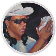 Zydeco Man Round Beach Towel
